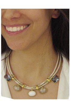 Blue Necklace Everyday necklace Unique Leather Necklace For