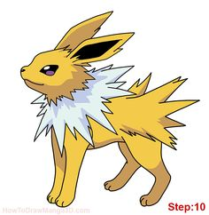 How to draw Jolteon Pokemon step: 10