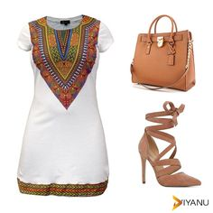Women's Fitted Dashiki African Print T-Shirt Dress (White) - Love it?  Order it here:  https://www.diyanu.com/collections/dresses/products/new-womens-fitted-dashiki-african-print-t-shirt-dress-white