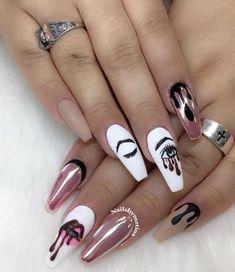 Coffin Nails Kylie Jenner, Coffin Nails Matte, Best Acrylic Nails, Long Nail Designs, Acrylic Nail Designs, Nail Art Designs, Nails Design, Hot Nails, Hair And Nails