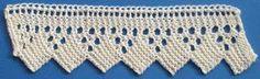 "10. Knitted Edging     This week's pattern appeared in The Inter Ocean, a Chicago newspaper published from 1872 to 1907, under the title ""Making Knitted Edging."" A row of faggoting along the very top forms a tiny scallop of eyelets above a row of ""ladder"" holes. Large eyelets arranged in triangles are interspersed with solid garter stitch squares set on their points, forming a saw-tooth lower edge. The stitch count increases from 14 to 20 before the added stitches are bound off in the final…"