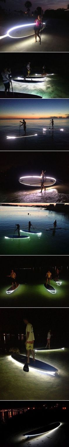 An accessory for paddle boards to make them safer to use at night. By attaching a custom-made, permanent strip of LED lights around the border of a board, surfers are given a source of light to guide them at night and illuminate the ocean floor below them Sup Stand Up Paddle, Paddle Boat, Wakeboard, Sup Yoga, Sup Surf, Pranayama, Paddle Boarding, Outdoor Fun, The Great Outdoors