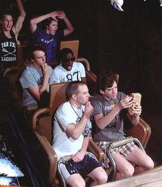 Roller Coaster Stunts  http://www.thepoke.co.uk/2012/05/13/the-top-10-greatest-roller-coaster-stunts/