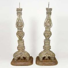 Pair of Indo-Portuguese Silver Mounted Altar Candlesticks  19th century