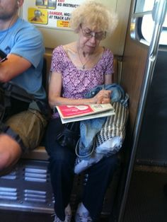 Old lady on bus