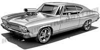 1969 Chevrolet Chevelle / side 3/4 view