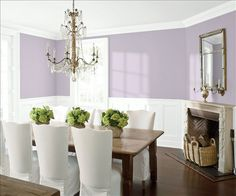 Look at the paint color combination I created with Benjamin Moore. Via @benjamin_moore. Wall: African Violet 2116-50; Trim & Wainscot: Distant Gray 2124-70; Ceiling: Distant Gray 2124-70.
