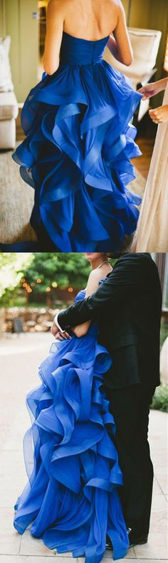 Modern Sweetheart Ruffles Bridal Dress, Fashion Floor-length Royal Blue Tulle Wedding Dress
