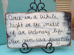 Rustic Shabby Chic Ivory and Black Fairy Tale Wedding Sign and Decor