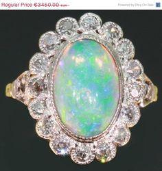 Vintage opal engagement ring diamonds setting (image 1 of Vintage Gold Rings, Wedding Rings Vintage, Vintage Opal Engagement Ring, Diamond Engagement Rings, Diamond Rings, Antique Jewelry, Vintage Jewelry, Gothic Jewelry, Antique Rings