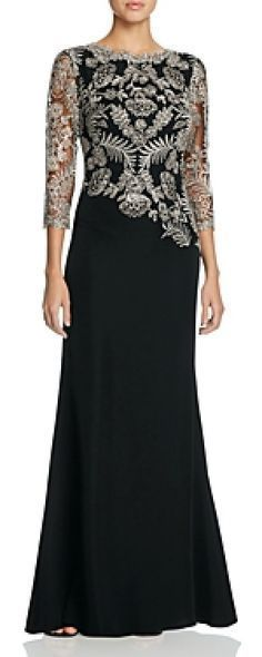 Elegant floor-sweeping skirt gown with metallic lace bodice will look chic on every mother of the bride.