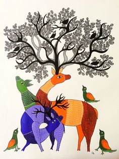 Gond Art with Life Indian Artwork, Indian Folk Art, Indian Paintings, Animal Paintings, Graffiti Wall Art, Mural Art, Kalamkari Painting, Madhubani Art, Madhubani Painting
