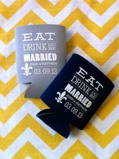 Eat Drink and Be Married  Custom Wedding Koozies by RookDesignCo