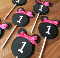 Cupcake Toppers: Minnie Mouse - Pink, White & Black Party Decorations kids birthday girl ribbon polka dot. $9.00, via Etsy.
