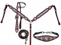 Showman 4 Piece Beaded Navajo Print Headstall, Breast Collar, Reins, And Wither Strap Set 13849 Western Bridles, Western Horse Tack, My Horse, Horse Riding, Wither Strap, Navajo Print, Barrel Racing Horses, Tack Sets, Saddles