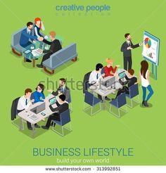 Flat 3d web isometric office meeting room report business collaboration teamwork brainstorming negotiation infographic concept interior vector set. Businessmen around table. Creative people collection