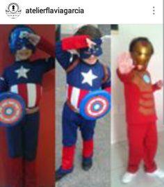 Fantasias Capitão América e Homem de Ferro.