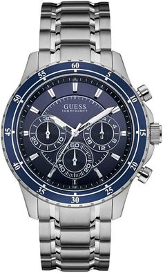 GUESS Men's Polished Silver-Tone Chronograph Watch