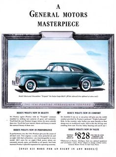 Advertising Objective Original 1941 Print Ad Pontiac Big Car For $828 Sedan Vintage Art Torpedo Buy Now Merchandise & Memorabilia