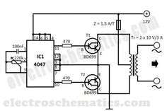 This DIY to to converter is built with CMOS 4047 that is the main component of this small voltage converter that transforms a into Electronics Engineering Projects, Electronic Circuit Projects, Electronic Engineering, Electronic Gifts, Diy Electronics, Electrical Engineering, Power Tv, Voltage Converter, Electronic Schematics