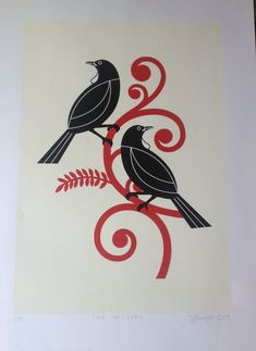 Check out the deal on Two tui - ecru limited edition screenprint by Greg Straight at New Zealand Fine Prints Hawaiian Tribal Tattoos, Samoan Tribal Tattoos, Maori Tattoos, Bird Stencil, Stencil Painting, Tui Bird, Maori Patterns, Zealand Tattoo, Sculpture Art