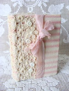 Shabby Vintage Inspired Lace and Pink Ticking Fabric Journal Diary NoteBook Hard Back Small Pocket Journal