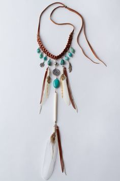 Love it with brown feathers please! Pocahontas Princessette Necklace Turquoise and Tan Leather by \Spell and the Gypsy Collection\. Feather Jewelry, Boho Jewelry, Beaded Jewelry, Jewelery, Handmade Jewelry, Jewelry Design, Western Jewelry, Tribal Jewelry, Estilo Hippie