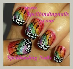 Holographic, rainbow, gradient, stamping, Free Hand Butterfly Wings, How to get the look; tutorial