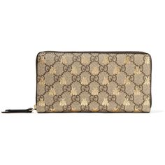 Gucci Printed coated-canvas continental wallet ($590) ❤ liked on Polyvore featuring bags, wallets, beige, brown wallet, gucci wallet, continental wallet, zip wallet and coin purse wallets