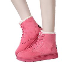 Mofourllow 2016 Winter Womens Low Flatheel Snowboots Synthetic PU Rubber Sole Laceup Thickened Warm Skidproof Solid Color with Artificial Wool 45 Pink >>> This is an Amazon Affiliate link. You can find more details by visiting the image link.