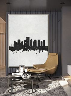 Hand painted Vertical Minimal Art, minimalist painting on canvas, the Richmond, Virginia skyline, black and white contemporary art from CZ ART DESIGN @Celineziangart, perfect choice for a neutral home or modern interior.
