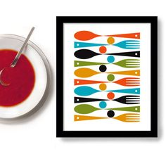 Kitchen Art, Mid Century Modern Kitchen Decor, Colorful Cooking Art Fork and Spoon on Etsy, 13,44€