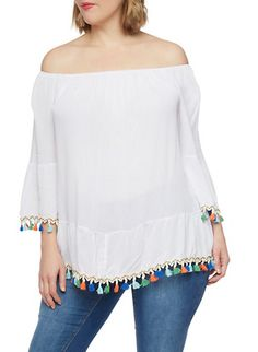 Plus Size Off the Shoulder Top with Multicolored Tassel Trim,WHITE