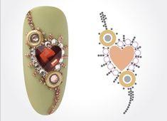 Rhinestone Nails, Bling Nails, 3d Nail Art, Nail Art Hacks, Acrylic Nail Designs, Nail Art Designs, Nail Crystal Designs, Diamond Nail Art, Different Types Of Nails
