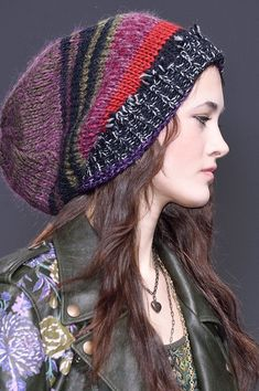 Etro at Milan Fashion Week Fall 2016 - Details Runway Photos Knit Crochet, Crochet Hats, Boho Hat, Warm Winter Hats, Fancy Hats, Knitting Accessories, Knit Fashion, Bandeau, Knitting Designs