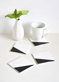 Colour block chalkboard coasters | Make and Tell