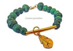 Bracelet perles de malachite : Bracelet par couleur-grenadine33