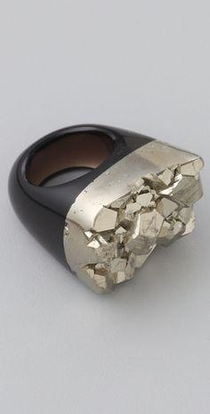 Black quartz and pyrite ring