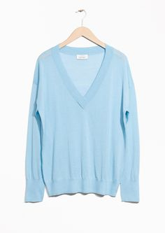 & Other Stories image 1 of Silk & Wool Blend Oversized Knit in Blue