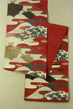 Turkey red nagoya obi (rokutsu) / ターキーレッド地 遠山花柄 六通八寸名古屋帯 #Kimono #Japan http://global.rakuten.com/en/store/aiyama/