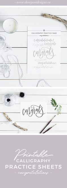 With wedding and graduation season coming up, it's always handy to have congratulatory cards on hand. This practice sheet guides you through seven different styles of 'congratulations,' so you can mix up your style without all the pressure. Calligraphy Tutorial, Calligraphy Cards, Hand Lettering Tutorial, Calligraphy Practice, Wedding Calligraphy, Wedding Ideas Do It Yourself, Crafty Wedding Ideas, Wedding Congratulations Card, Wedding