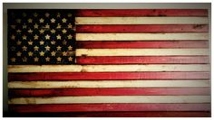 Large Rustic American Flag Sign