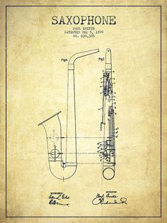 Saxophone Poster featuring the drawing Saxophone Patent Drawing From 1899…
