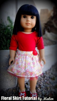 Floral Skirt with Wide Waistband | Free Sewing Pattern for American Girl Dolls