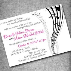 music wedding invitations ~ acoustic melody | music theme weddings, Wedding invitations