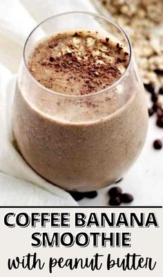 This coffee banana smoothie with peanut butter recipe is vegan, gluten-free, and dairy-free! An easy breakfast on-the-go that's packed with quick oats, chia seeds, coffee, and more clean ingredients that are sure to keep you full and satisfied. #easysmoothie #easybreakfast #veganbreakfast