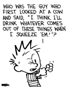 """Reminds me of what I used to think. Calvin and Hobbes QUOTE OF THE DAY (DA): Who was the guy who first looked at a cow and said, """"I think I'll drink whatever comes out of these things when I squeeze 'em! Calvin And Hobbes Quotes, Calvin And Hobbes Comics, Calvin Und Hobbes, Now Quotes, Funny Quotes, Funny Memes, Funny Cartoons, Funny Comics, William Boyd"""