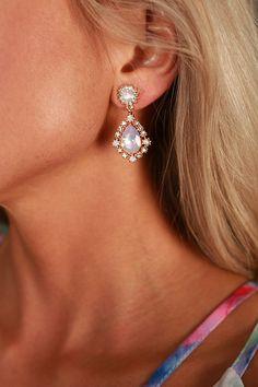 Crystal Clear Teardrop Earrings in Light Pink