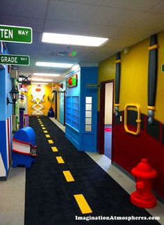 My little cousins preschool classroom! I love the fence idea for this!!! And decorate the background with artwork :)