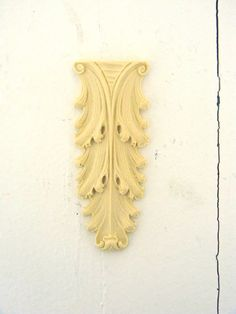 Antique Carved Leaf Furniture Applique - Wood & Resin - Trims and Appliques - Flexible - Stainable - Paintable